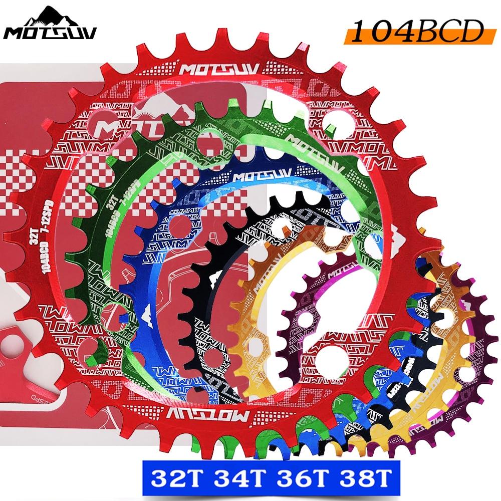 Bicicleta manivela 104bcd forma redonda estreita largura 32 t/34 t/36 t/38 t mtb chainring bicicleta roda dentada círculo pedaleira única placa