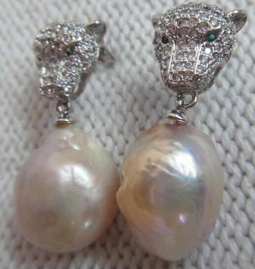 Par de 11x13MM enorme oro rosa KASUMI FW barroco pendientes de perlas de plata 925