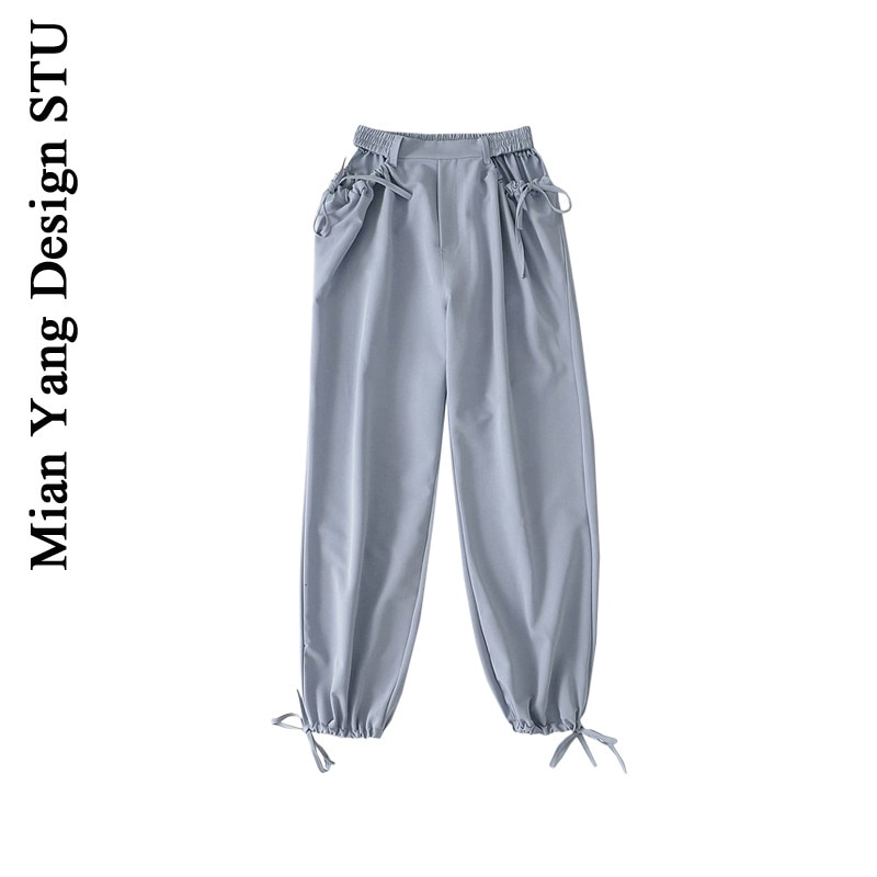 Street Fashion High Waist Loose Casual Pants Retro Ankle-Tied Lace-up Yoga Pants Scheming Hollow Dra