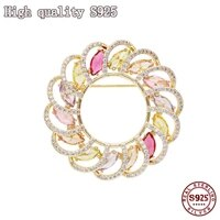 2021 fashion jewelry high quality round flower brooch exquisite female brooch inlaid with shining zircon