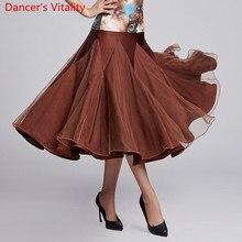 Nouveaux vêtements de danse modernes 4 couleurs épissage grandes ourlets jupe norme nationale valse Jazz danse scène pratique vêtements de formation