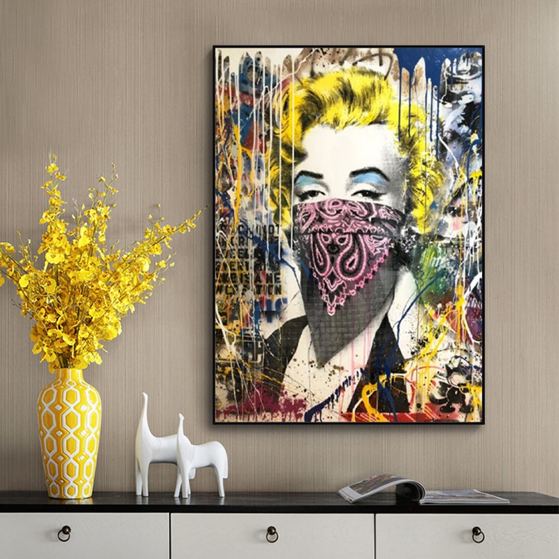 Graffiti Street Pop Art Women with Veil Canvas Painting Scandinavian Cuadros African Wall Art Pictures for Living Room Decoratin