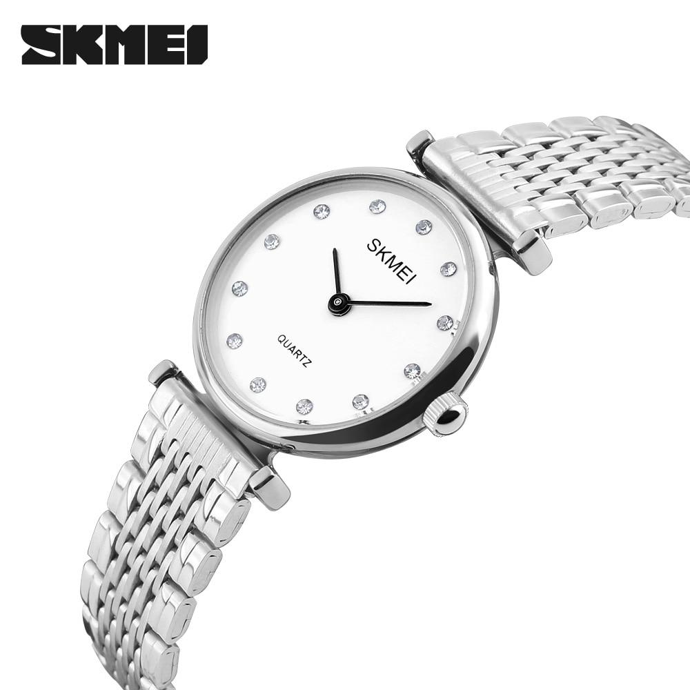 SKMEI Fashion Women Dress Watches Casual Girls Wristwatches Rhinestones Waterproof Gold Ladies Mesh Strap WristWatch Relogio enlarge
