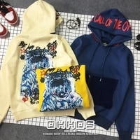 new drawing graffiti astronauts letters printing pocket hooded fleece single men and women add flocking couple hoodie