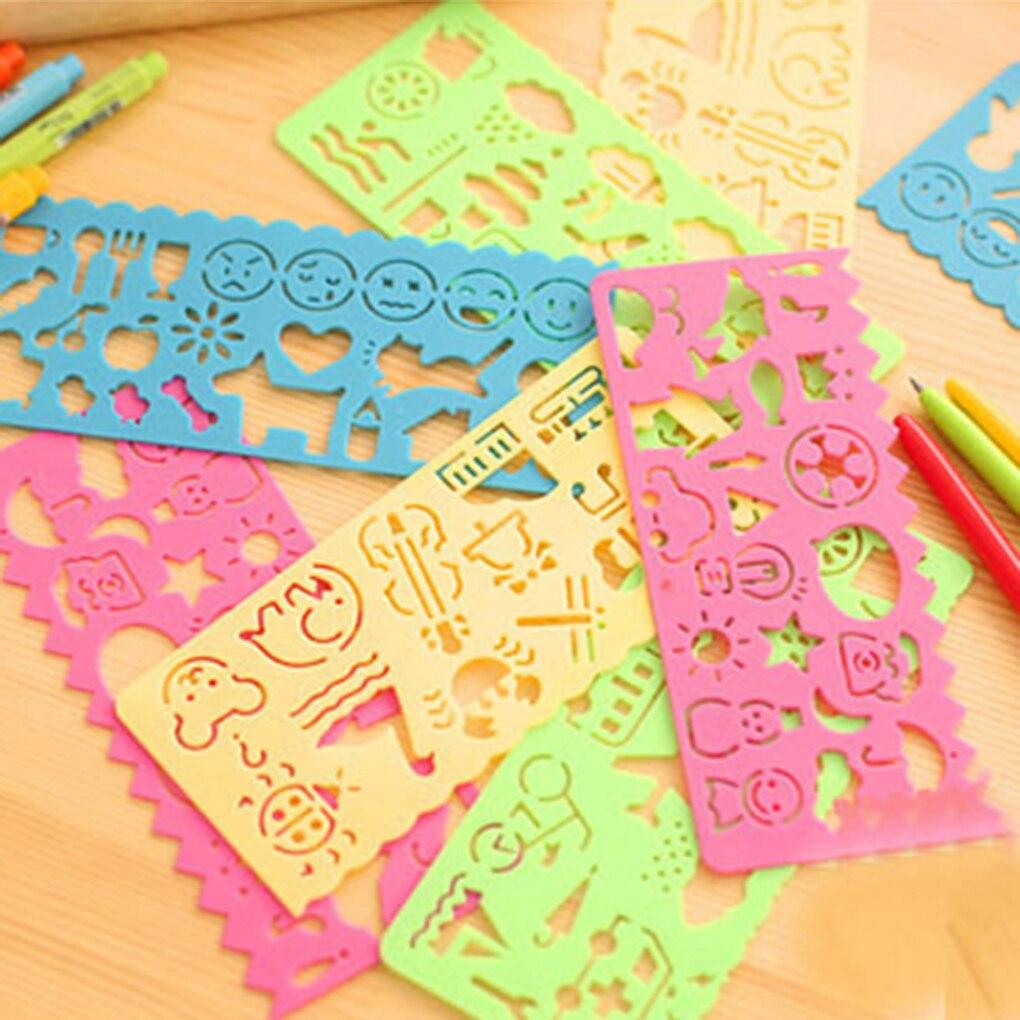 Novo 4 pçs desenho brinquedos ferramenta bebê crianças artigos de papelaria régua escola pintura suprimentos ferramenta de desenho arte modelo de desenho cor aleatória