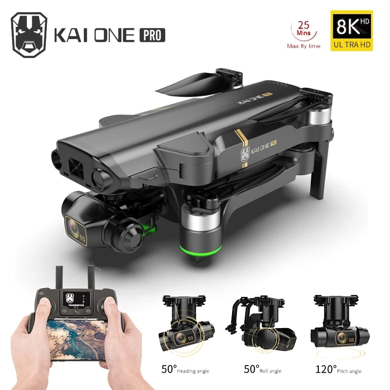 Фото - KAI ONE Pro GPS Drone  8K HD Dual Camera Three-axis gimbal Brushless Motor With 5G Wifi Quadcopter Rc Distance 1.2km Gifts folding rc quadcopter optical flow 5g esc dual camera gps brushless motor remote control drone