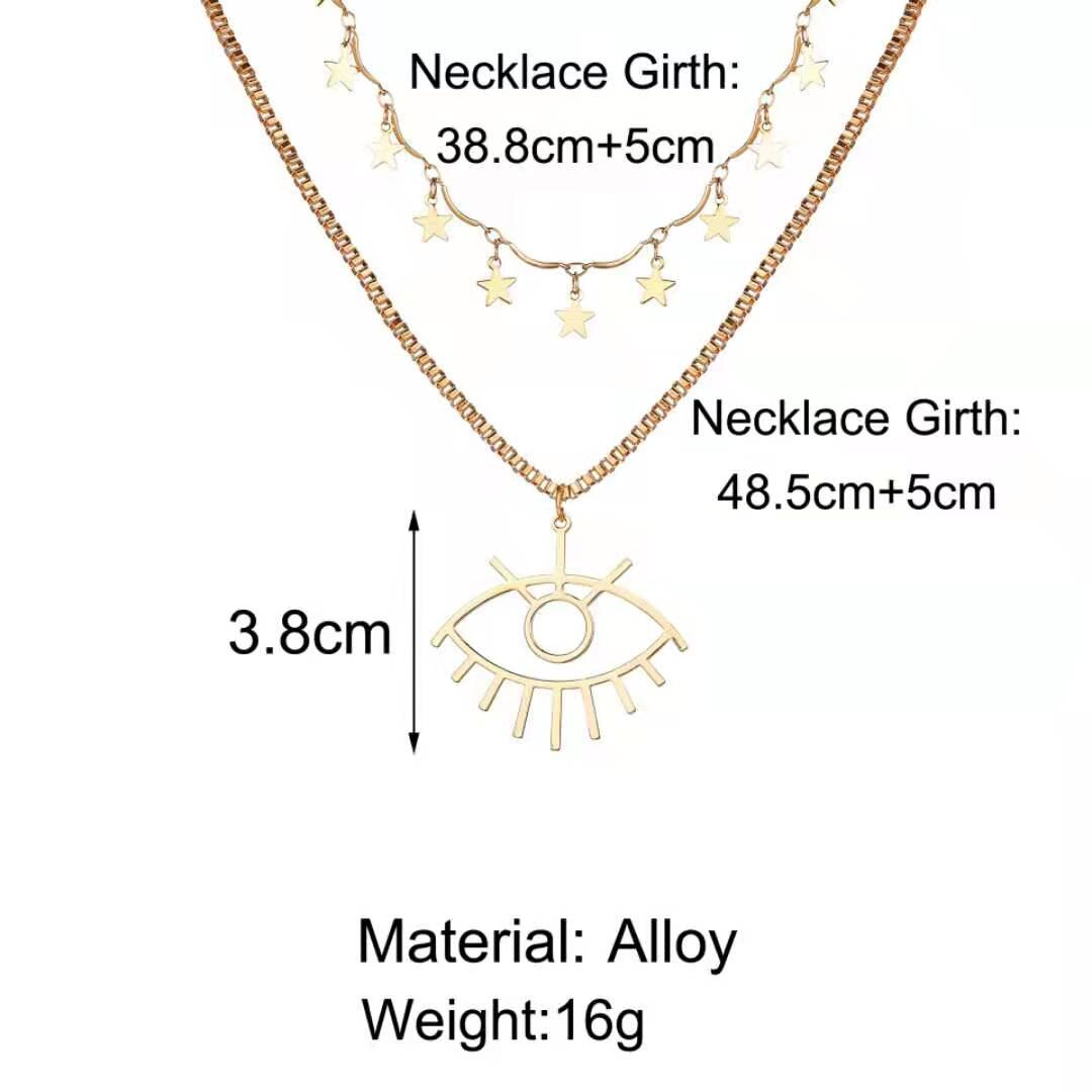 Fashion Personality Women's Necklace Creative Retro Simple Star Eye Pendant Double Alloy Necklace 2021 Trend Party New Gift  - buy with discount