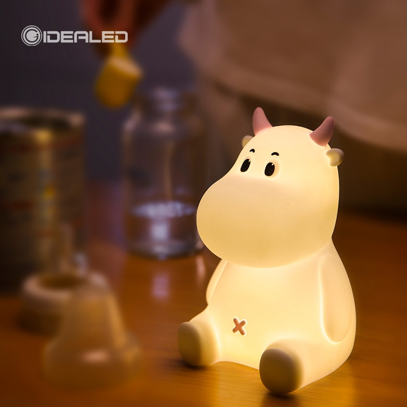 LED Night Light Touch Sensor Cow Silicone Atmosphere Lamp For Children Kids Baby Gift Bedside Bedroom USB Rechargeable 24cm big moon lamp usb holiday atmosphere decorative sleeping table lamp touch bedside kids baby light creative gift chargeable
