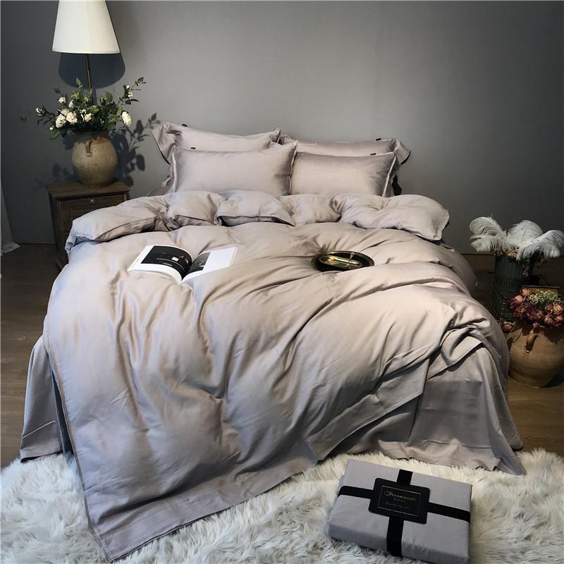 Parure de lit douce en soie   Tencel gris argenté 43, parure de lit, reine, grande taille, drap, housse de couette, drap, parure de lit,