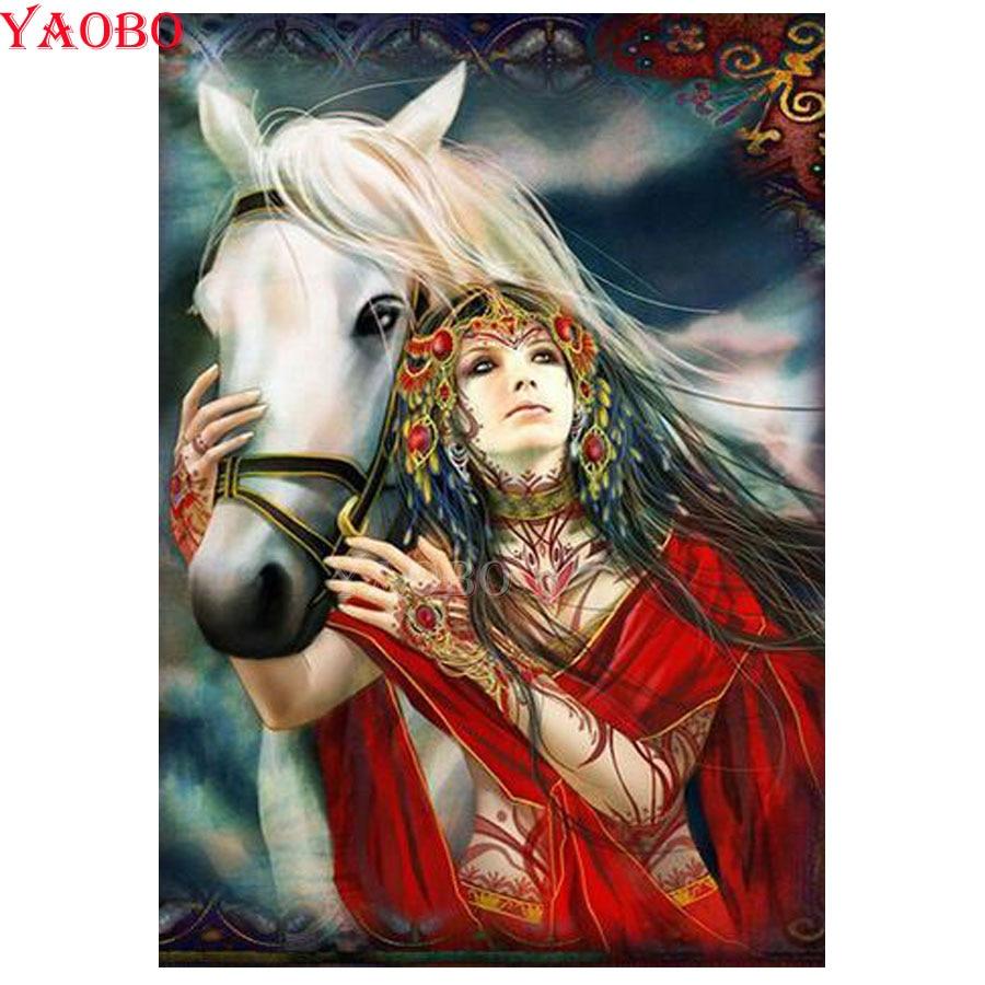 Cuadro de diamantes 5D diy con bordado de punto de cruz para mujer india y bordado de diamantes con caballos en venta cuadro de mosaico de diamantes redondos