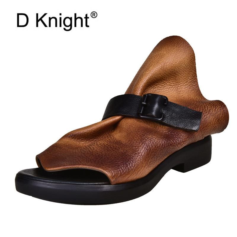 Sandalias de tacón cuadrado, zapatos de verano negros para mujer, zapatos de moda con hebilla para mujer, zapatos deslizantes para fiesta, zapatillas de cuero de vaca suave, triangulación de envíos