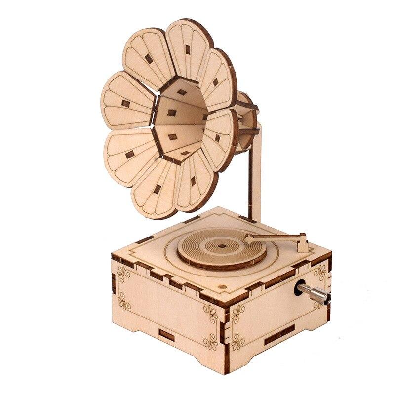 DIY Wooden Hand Cranking Music Box Clockwork Simulation gramophone Stem Toys Science Experiment Kit