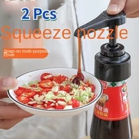 2 pcs kitchen multi purpose ketchup oyster sauce bottle pressure mouth small tool sauce press pump plastic extrusion nozzle