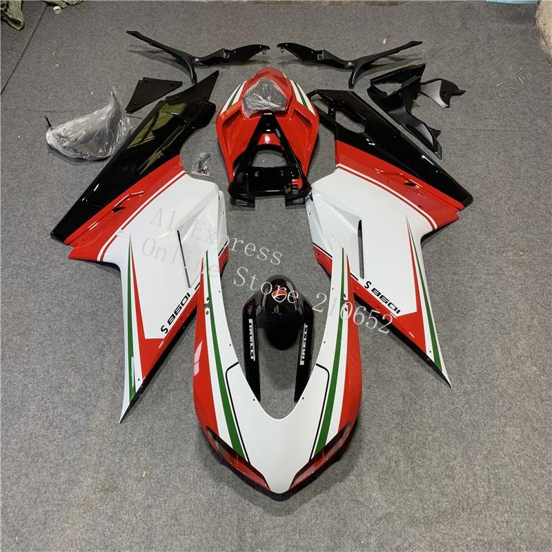قالب حقن جديد ABS دراجة نارية Fairings عدة يصلح ل DUCATI 848 1098 1198 1098s 2007-2011 طقم هيكل مخصص أحمر أبيض