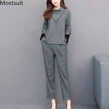 L-4xl Grau Zwei Stück Sets Outfits Frauen Plus Größe Langarm Tops Und Hosen Anzüge Büro Elegante Mode 2 Stück sets 2019