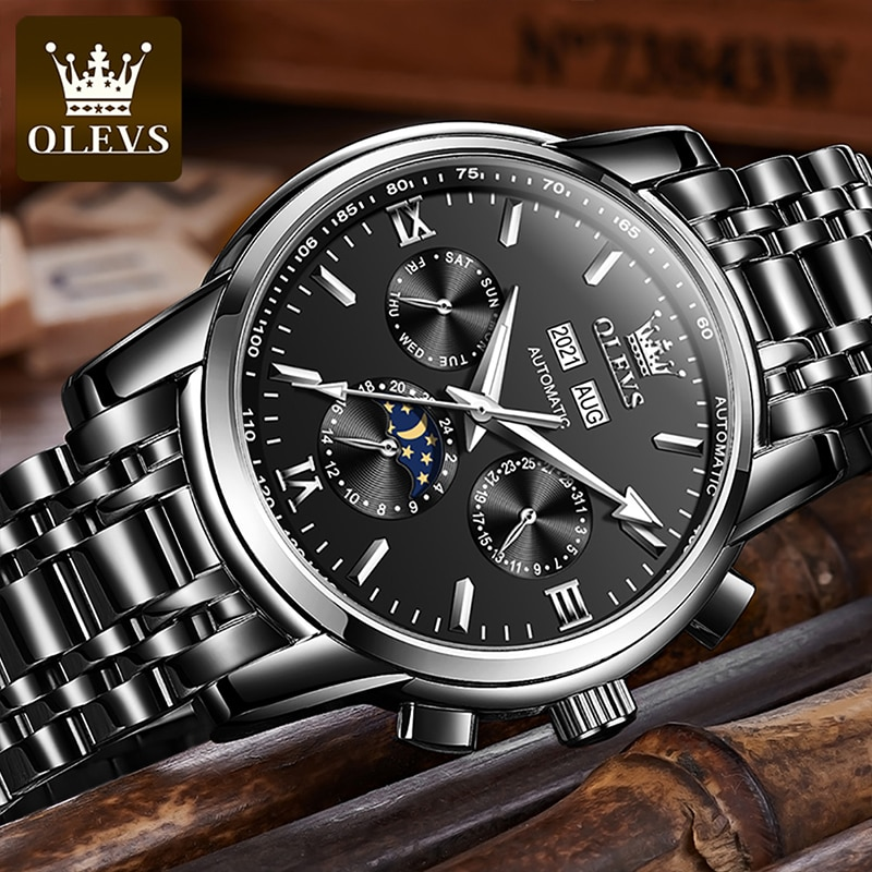 OLEVS New Luxury Business Automatic Mechanical Stainless Steel Strap HD Luminous Moon Phase 30M Waterproof Reloj Hombre 6633 enlarge