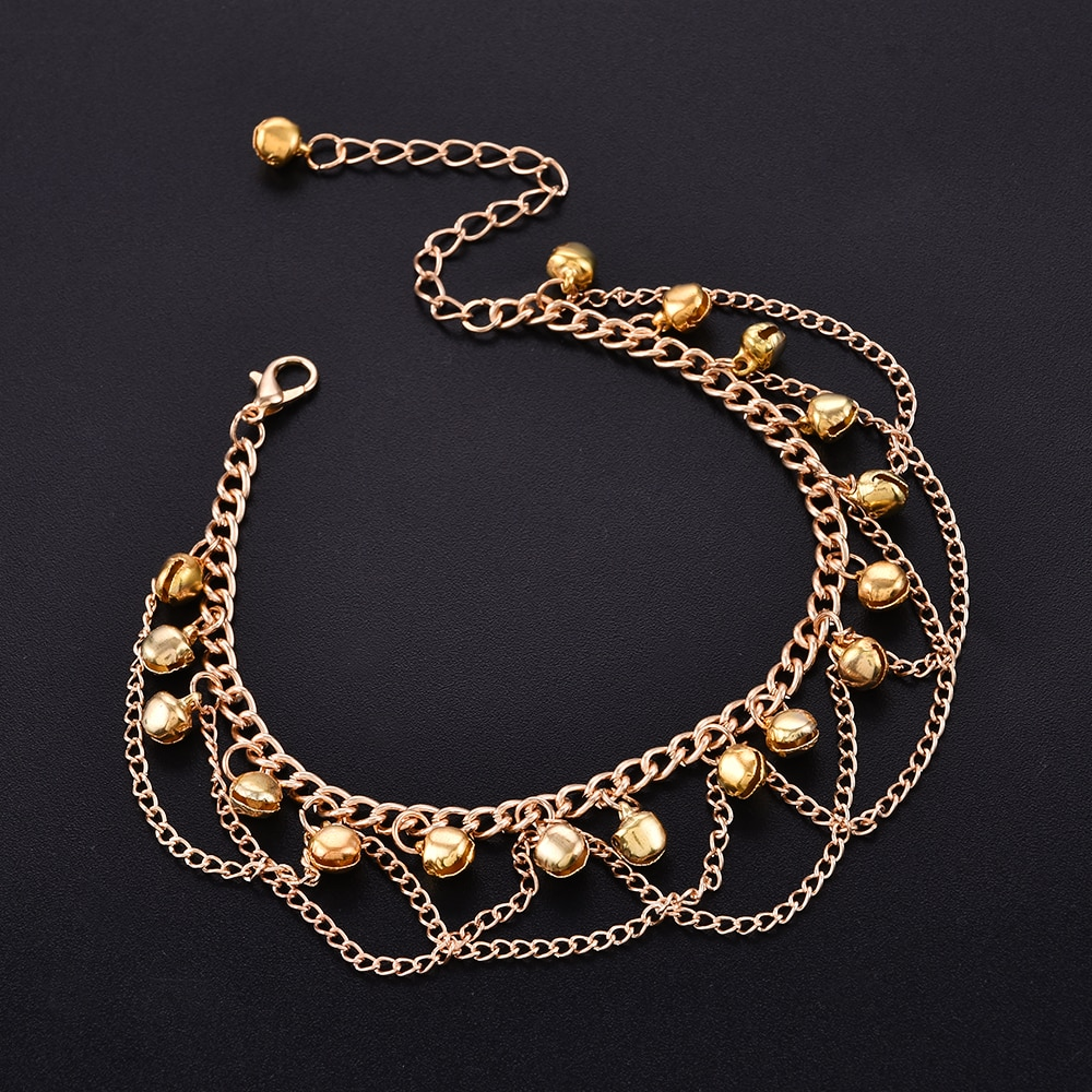 AliExpress - New Women Gril Tassel Chain Bells Sound Gold Metal Chain Anklet Ankle Bracelet Foot Chain Jewelry Beach Anklet Bohemia 2021
