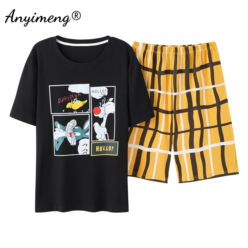 Pajamas Set Cotton for Men Summer Shorts Home Suits Soft Casual Nightwear 3XL Pullover Cartoon Print