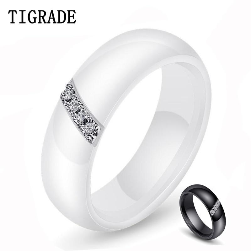 Tigrade anillo de cerámica blanco para mujer hombre anillo de boda negro...