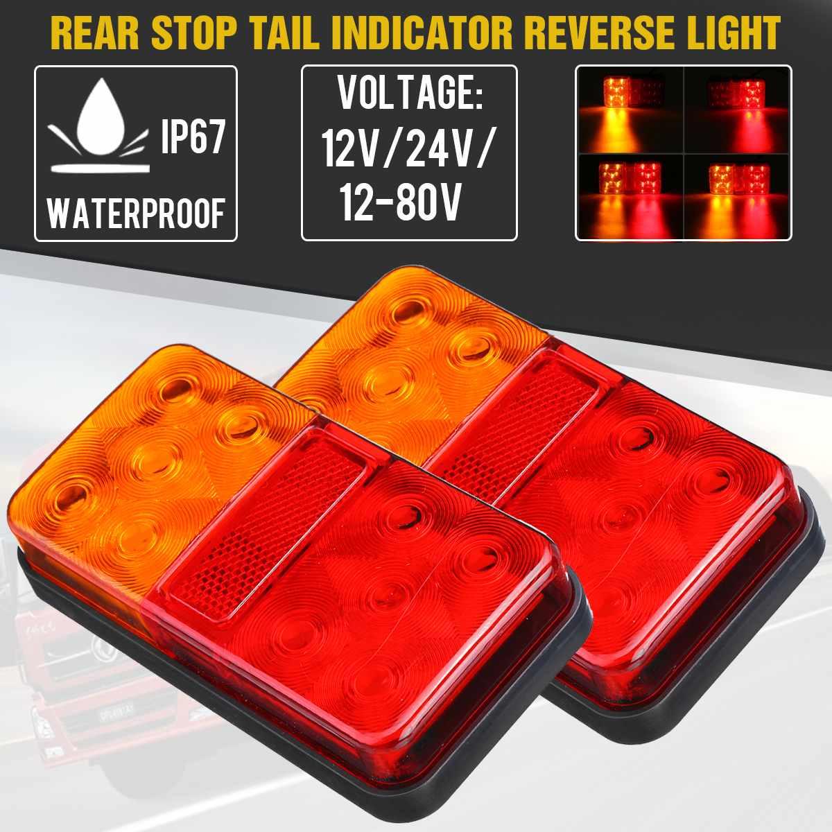 2 uds. Luz trasera LED de 12V 24V luz trasera indicador de señal de giro luz de freno trasera para coche camión remolque caravana