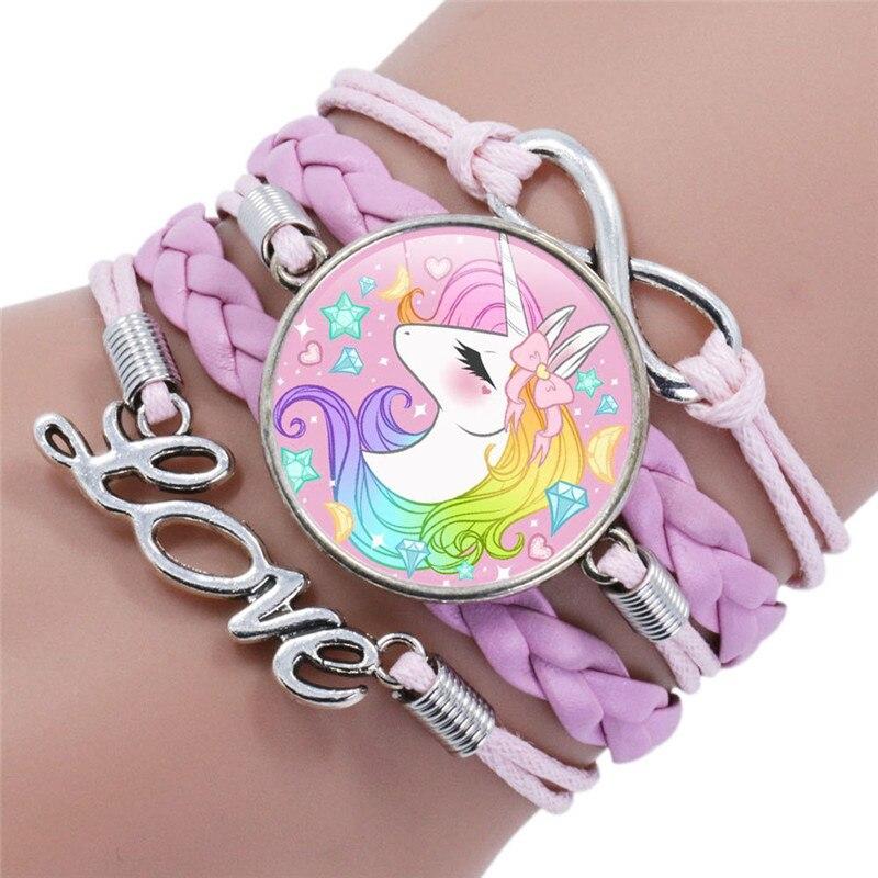 Bonita pulsera de dibujos animados para niños, brazaletes con gemas de unicornio, pulsera Retro trenzada, pulseras con unicornio, pulseras encantadoras para bebés