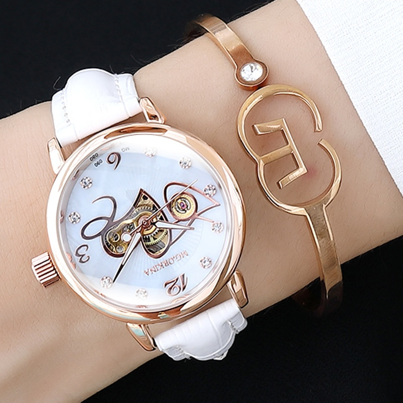Hot Sale Skeleton Watch Women Automatic Mechanical Watches Female Wrist Watches Clock Rose Gold Montre Femme Zegatek Damski 2020 enlarge