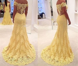 Lanvendia Women Yellow Lace Applique Prom Dresses 2020 Sexy Off Shoulder Mermaid Evening Gowns Black Girls Bridal Gown