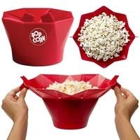 Bol a Popcorn pliable en Silicone pour micro-ondes  seau a Popcorn de bricolage  outils de cuisine de haute qualite pour le cinema a domicile