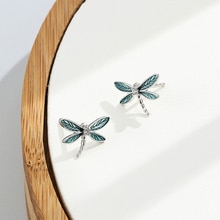 SILVERHOO 925 Sterling Silver Dragonfly Earring For Women Epoxy Lady Stud Earrings Green Fine Silver