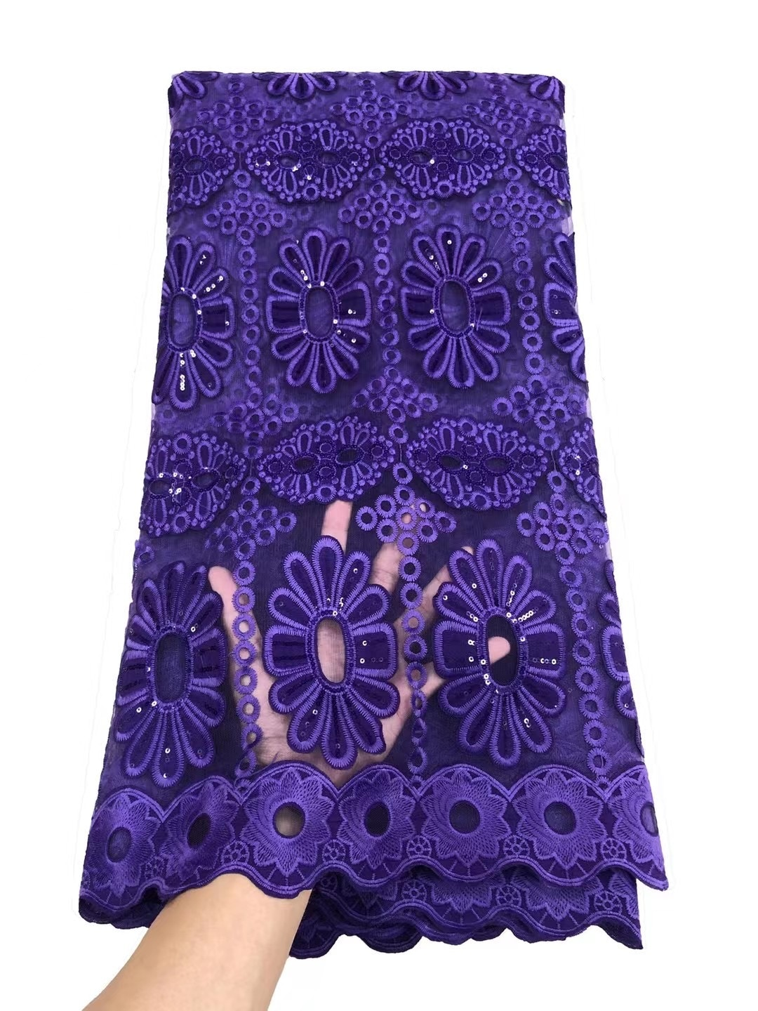 Newest African Tulle Lace Fabric Purple embroidered Net Lace French Sewing Women Party Dress Designer Nigerian Lace Fabric