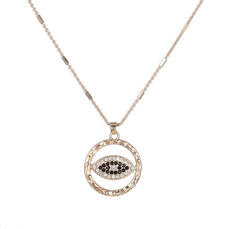 ¡Novedad de 2020! Collar con colgante circular de ojo largo para mujer, collar con colgante de ojo a la moda, joyería de moda