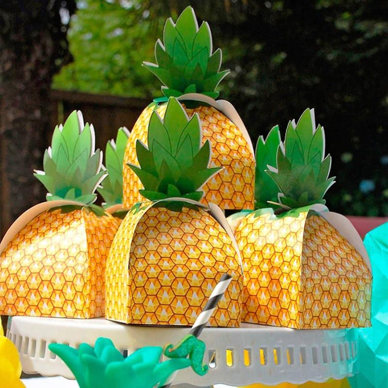 5 uds. Caja de dulces de piña fiesta de vacaciones caja de recuerdos de regalo para boda Paquete de dulces bolsas de Favor de fiesta de cumpleaños