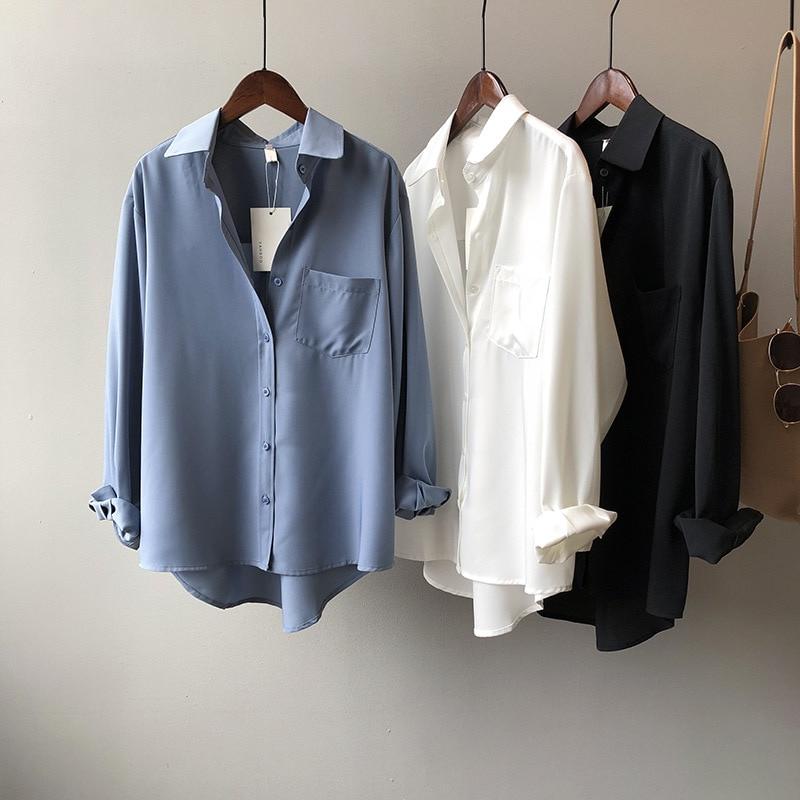 Outono casual solto blusa feminina camisas 2020 todo o jogo sólido menina blusa camisas de manga longa branco blusa feminina camisa