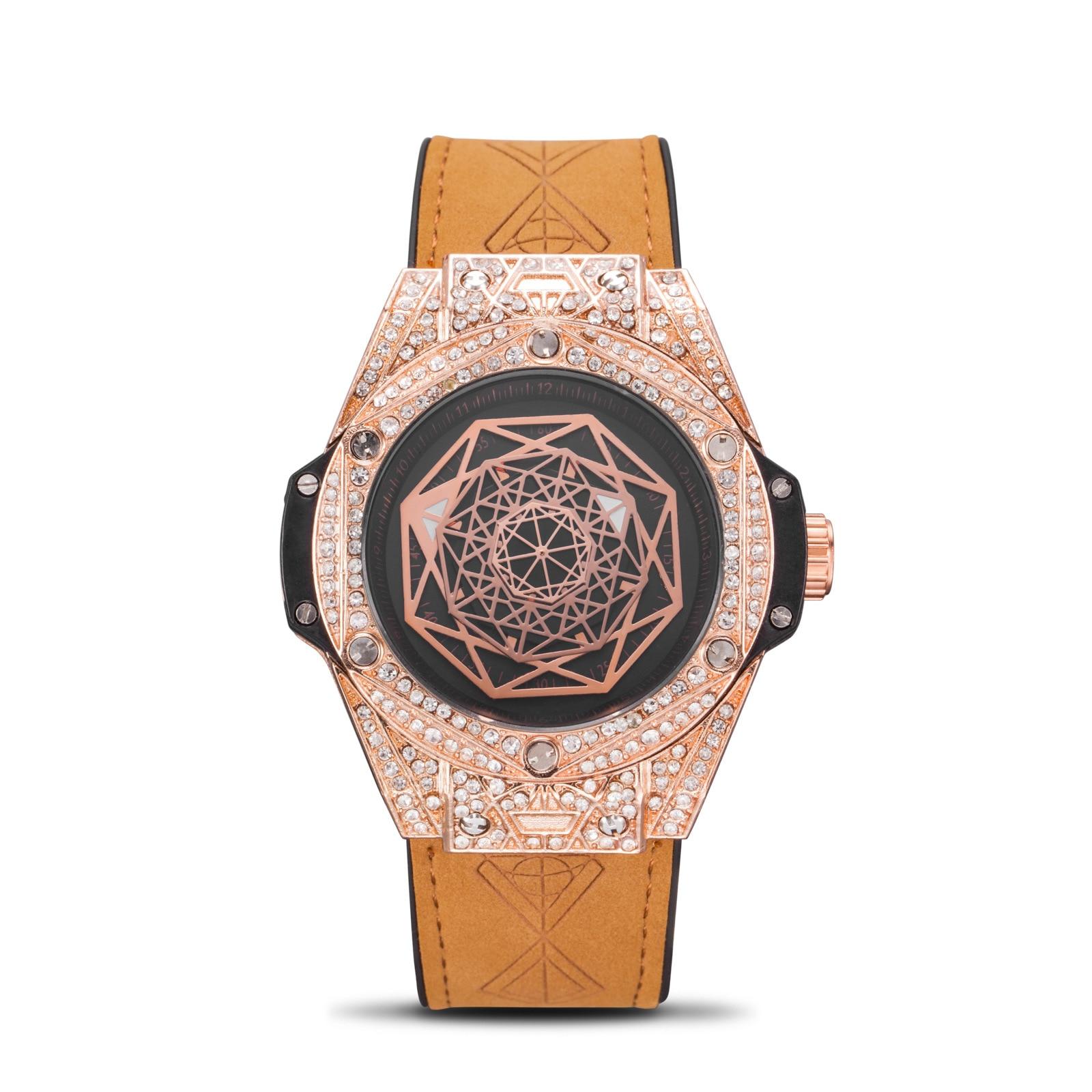 2021 New Diamond Mens Watches Top Brand Leather Chronograph Waterproof Sport Quartz Watch For Men Clock Gift Relogio Masculino