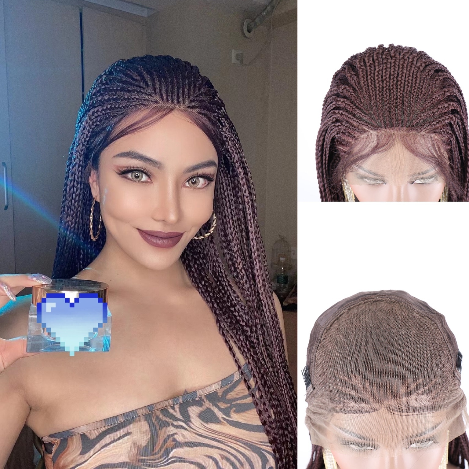 Briaided Wigs Lace Front Synthetic Wig Lace Front Braids TOOCCI African Braids Wig Box Braiding African Synthetic Wigs For Black