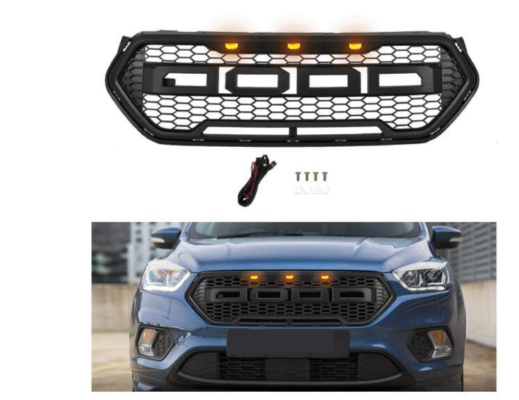 LED تعديل الجبهة سباق الشوايات ABS شواء شبكة رابتور مصبغة قناع الزخارف غطاء صالح لل الهروب KUGA 2017 2018 2019 2020
