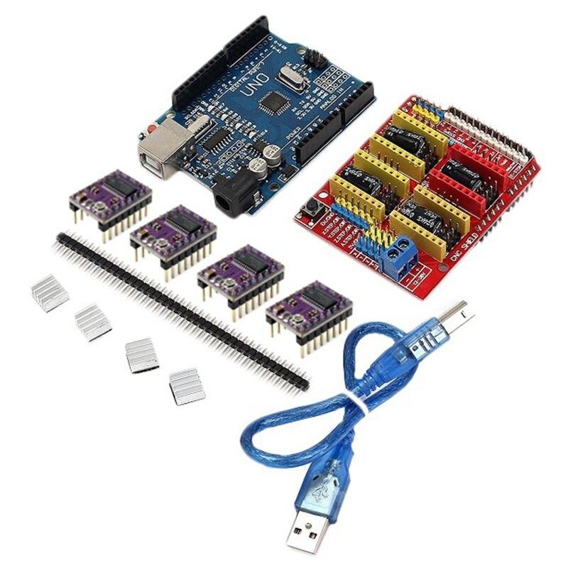 CNC escudo + UNO R3 placa + 4 X DRV8825 conductor Kit para Arduino 3D impresora módulo