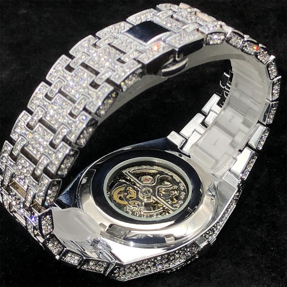 MISSFOX Luxury Mechanical Men's Watches With Diamond Hip Hop Automatic Watch OAK Iced Out Tourbillon Skeleton Relógio masculino enlarge
