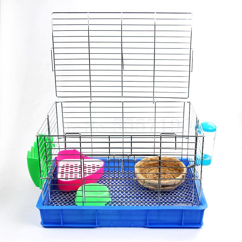 Jaula de conejo de acero inoxidable, jaula extra Grande para Conejo, jaula para gato, jaula de lujo para cría de conejos con orejas de gallo, a prueba de pulverización y orina