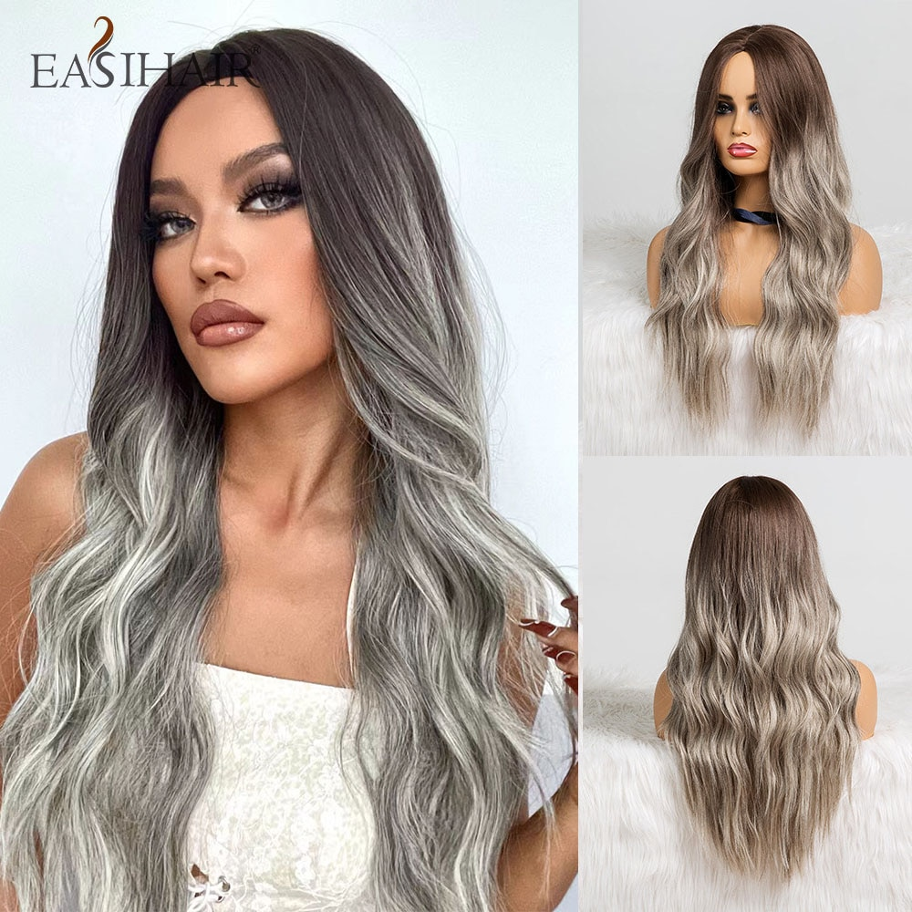 Парик длинный с коричневого до серого Омбре для женщин, термостойкие синтетические волосы из натуральных волн для косплея, для косплея