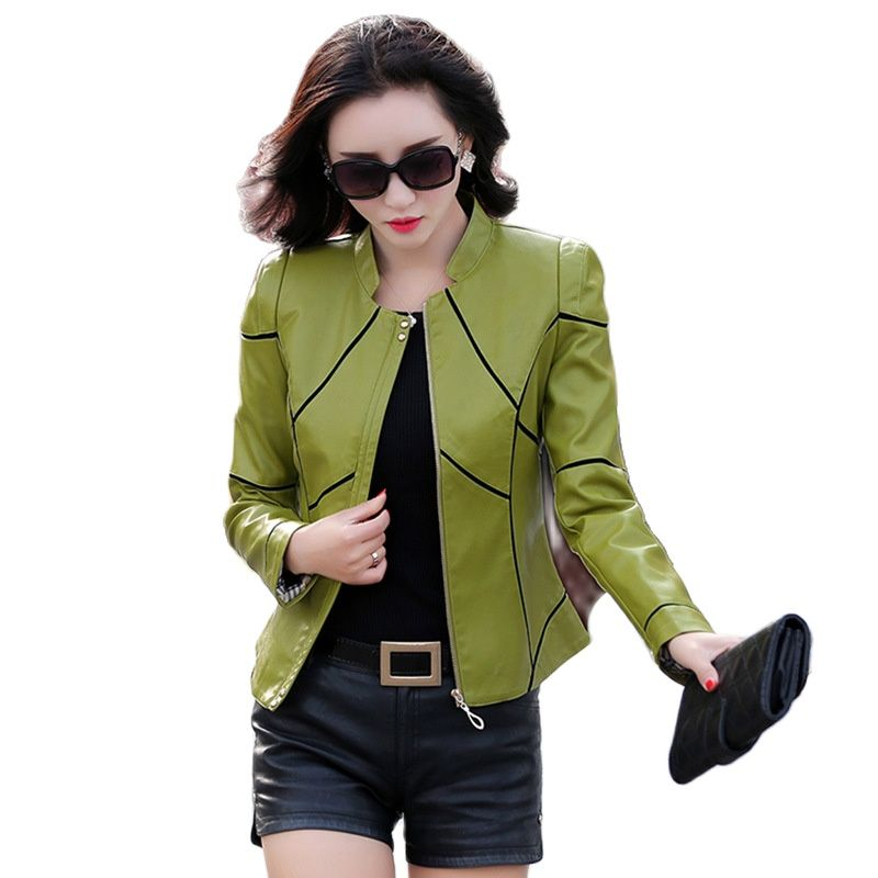 women's stitching leather coat mother wears large size coat PU jacket Korean locomotive leather jacket short trench black jacket