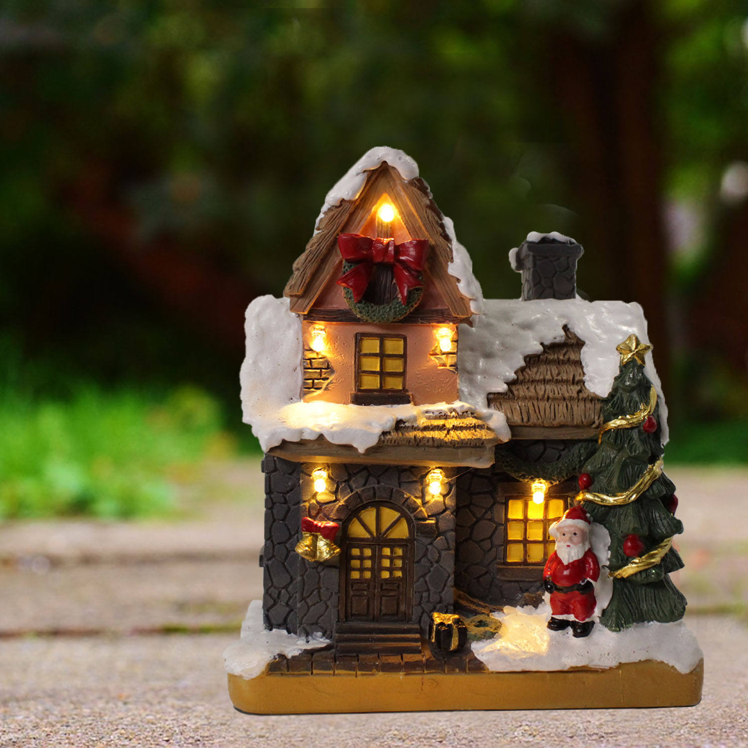 led lights car accessories Christmas Scene Village Decor Houses Small Town Ornament Holiday Gifts Xmas Decoration With L