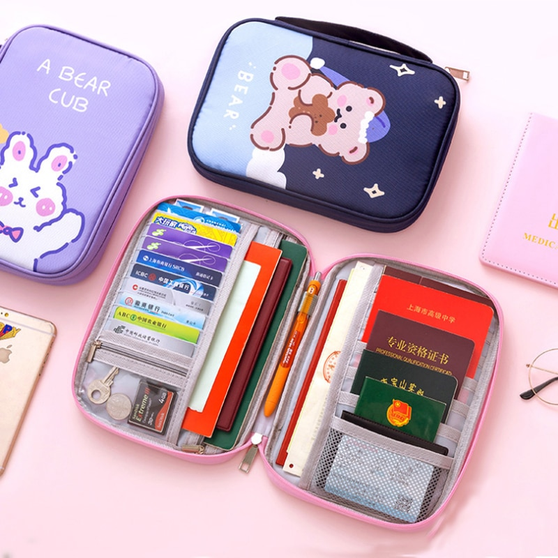 Portable Cute Passport Bag Large Capacity Document Purse Wallet Card Storage Pouch Men Women Weekend Travel Organize Accessory