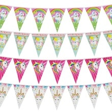 Rainbow Unicorn Party Paper Banner Girl Kids 1st Birthday Hanging Flags Little Mermaid Garland Baby