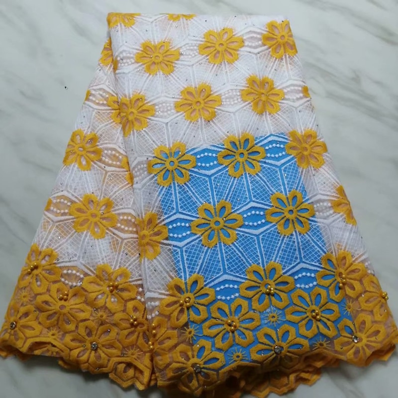 Bright Yellow Latest French Lace Fabric 2019 African Nigerian Embroidered Tulle With Stones For Wedding Party Dress