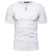 Camiseta clásica Henley de 3 botones para hombre, Camiseta de algodón 2020 de manga corta con cuello en V, camiseta informal de trabajo de negocios para hombre XXL