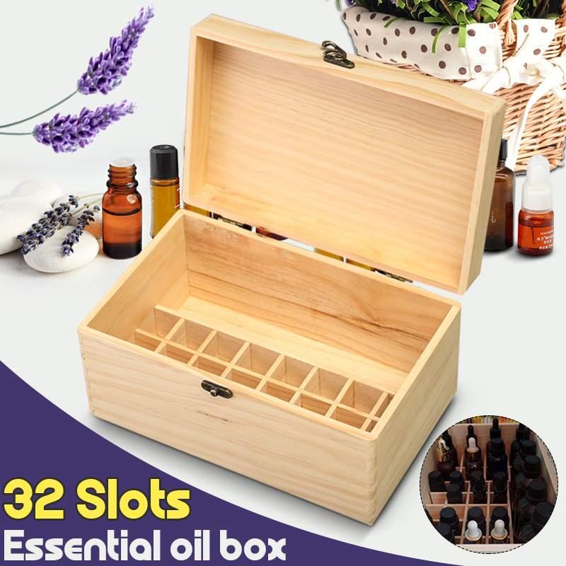 صندوق تخزين خشبي مع 32 شبكة ، صندوق تخزين للزيوت العطرية ، للعلاج بالروائح ، للمجوهرات ، الكنز