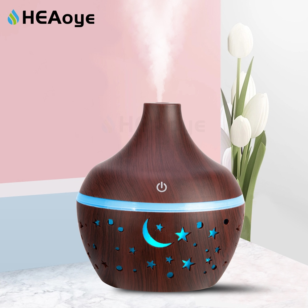 Humidificador aromático, difusor de aceites esenciales de luna con 7 luces LED, ultrasónico de madera de grano con USB, vaporizador para el hogar, 300ml