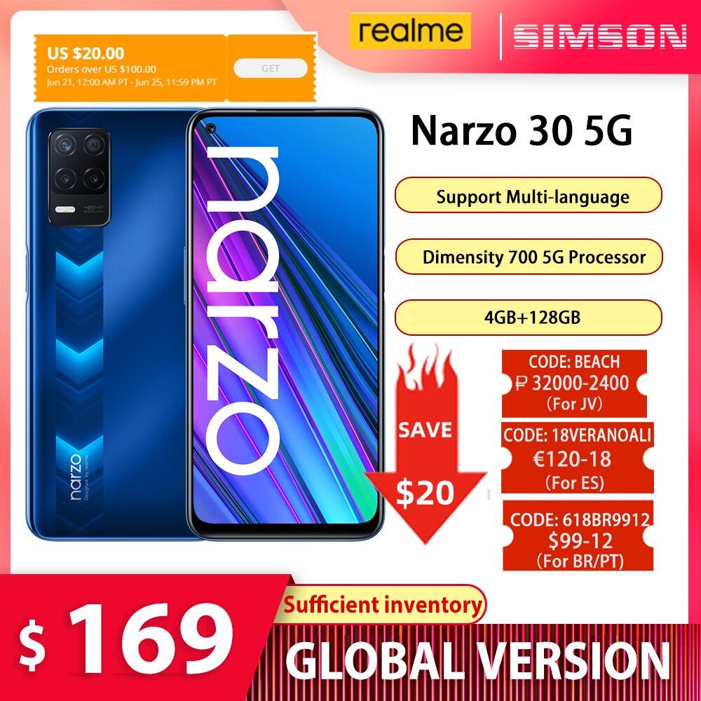 Глобальная версия realme narzo 30 5G смартфон 4 Гб 128 Тонкий & светильник дизайн Dimensity 700 5G процессор 48MP тройной Камера 90 Гц NFC