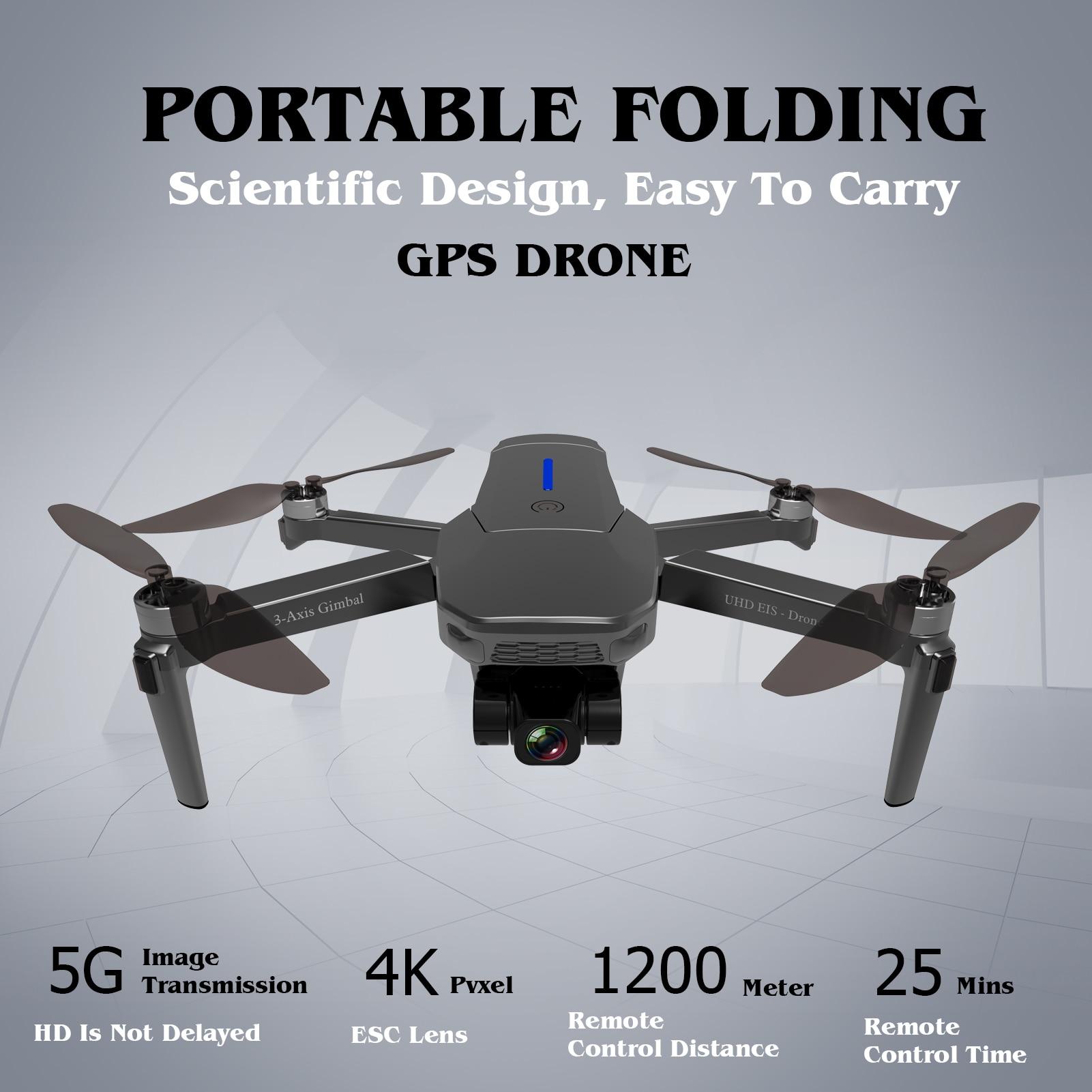 2021 SJY-009MAX Brushless GPS 5G WIFI 4K HD Mechanical 3-Axis Gimbal Camera Rc Drone 25mins flight Control Range 1200 meters enlarge